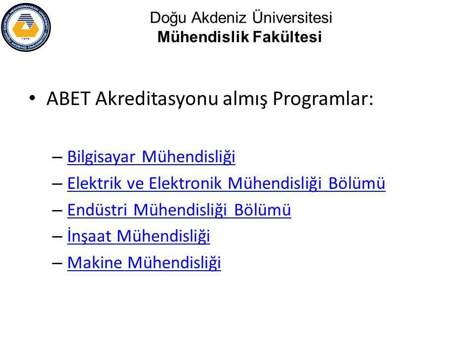 ABET Akreditasyonu almış Programlar: – Bilgisayar Mühendisliği Bilgisayar Mühendisliği – Elektrik ve Elektronik Mühendisliği Bölümü Elektrik ve Elektronik Mühendisliği Bölümü – Endüstri Mühendisliği Bölümü Endüstri Mühendisliği Bölümü – İnşaat Mühendisliği İnşaat Mühendisliği – Makine Mühendisliği Makine Mühendisliği Doğu Akdeniz Üniversitesi Mühendislik Fakültesi