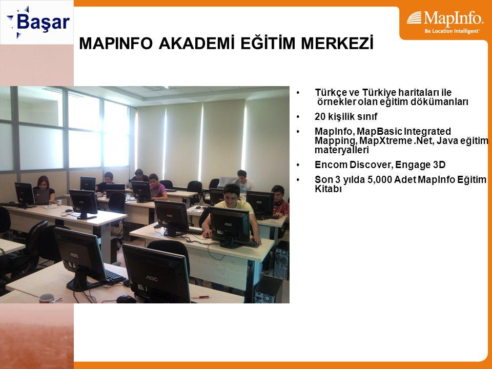MAPINFO AKADEMİ EĞİTİM MERKEZİ Türkçe ve Türkiye haritaları ile örnekler olan eğitim dökümanları 20 kişilik sınıf MapInfo, MapBasic Integrated Mapping, MapXtreme.Net, Java eğitim materyalleri Encom Discover, Engage 3D Son 3 yılda 5,000 Adet MapInfo Eğitim Kitabı