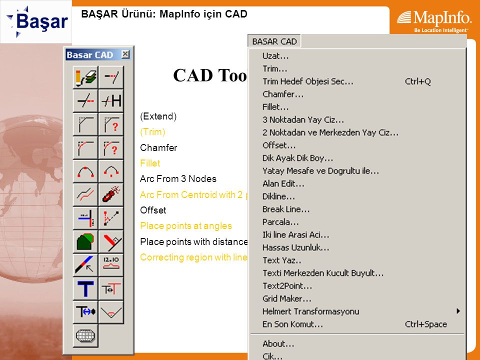 BAŞAR Ürünü: MapInfo için CAD –(Extend) –(Trim) –Chamfer –Fillet –Arc From 3 Nodes –Arc From Centroid with 2 points –Offset –Place points at angles –P