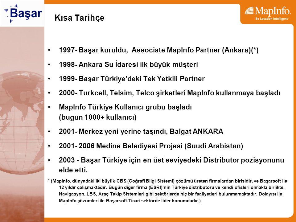 Kısa Tarihçe 1997- Başar kuruldu, Associate MapInfo Partner (Ankara)(*) 1998- Ankara Su İdaresi ilk büyük müşteri 1999- Başar Türkiye'deki Tek Yetkili Partner 2000- Turkcell, Telsim, Telco şirketleri MapInfo kullanmaya başladı MapInfo Türkiye Kullanıcı grubu başladı (bugün 1000+ kullanıcı) 2001- Merkez yeni yerine taşındı, Balgat ANKARA 2001- 2006 Medine Belediyesi Projesi (Suudi Arabistan) 2003 - Başar Türkiye için en üst seviyedeki Distributor pozisyonunu elde etti.