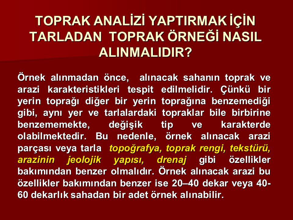 TOPRAK ÖRNEĞİ NERELERDEN ALINMAMALIDIR.