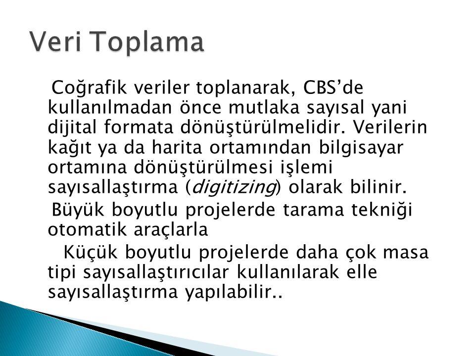 Coğrafik veriler toplanarak, CBS'de kullanılmadan önce mutlaka sayısal yani dijital formata dönüştürülmelidir. Verilerin kağıt ya da harita ortamından