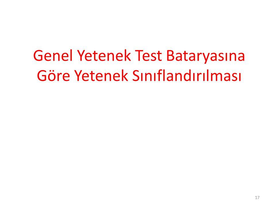 Genel Yetenek Test Bataryasına Göre Yetenek Sınıflandırılması 17