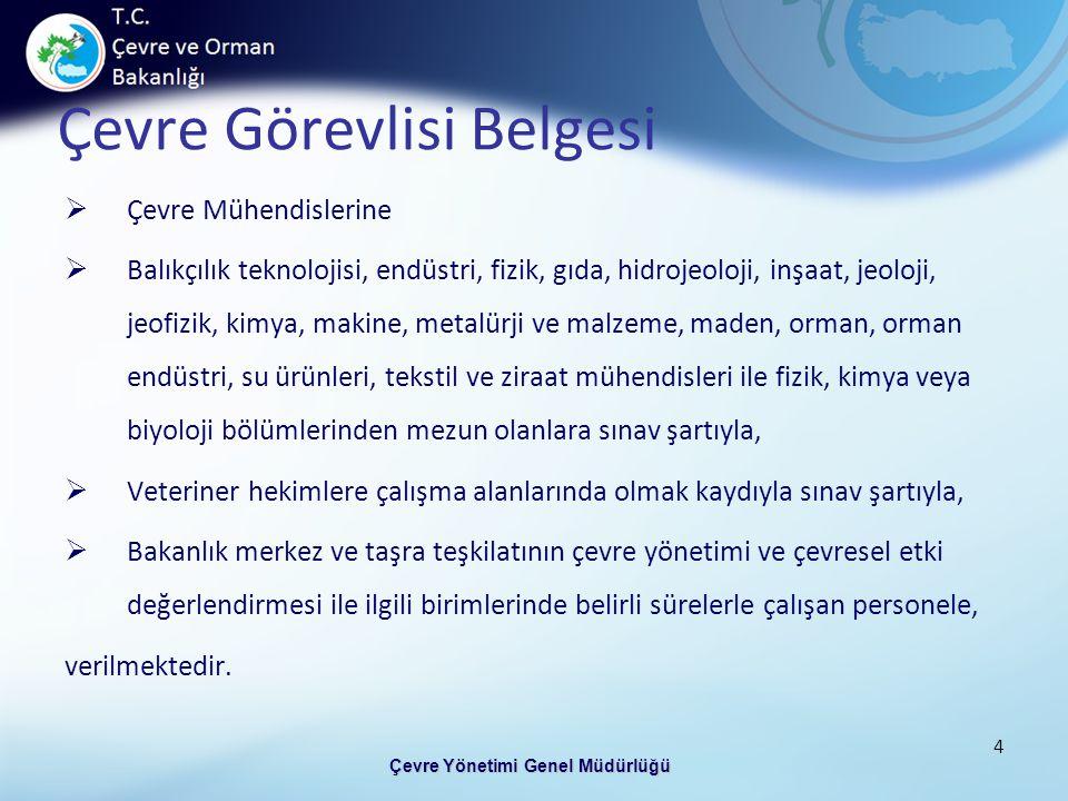 Çevre Görevlisi Belgesi Çevre Yönetimi Genel Müdürlüğü 4  Çevre Mühendislerine  Balıkçılık teknolojisi, endüstri, fizik, gıda, hidrojeoloji, inşaat,
