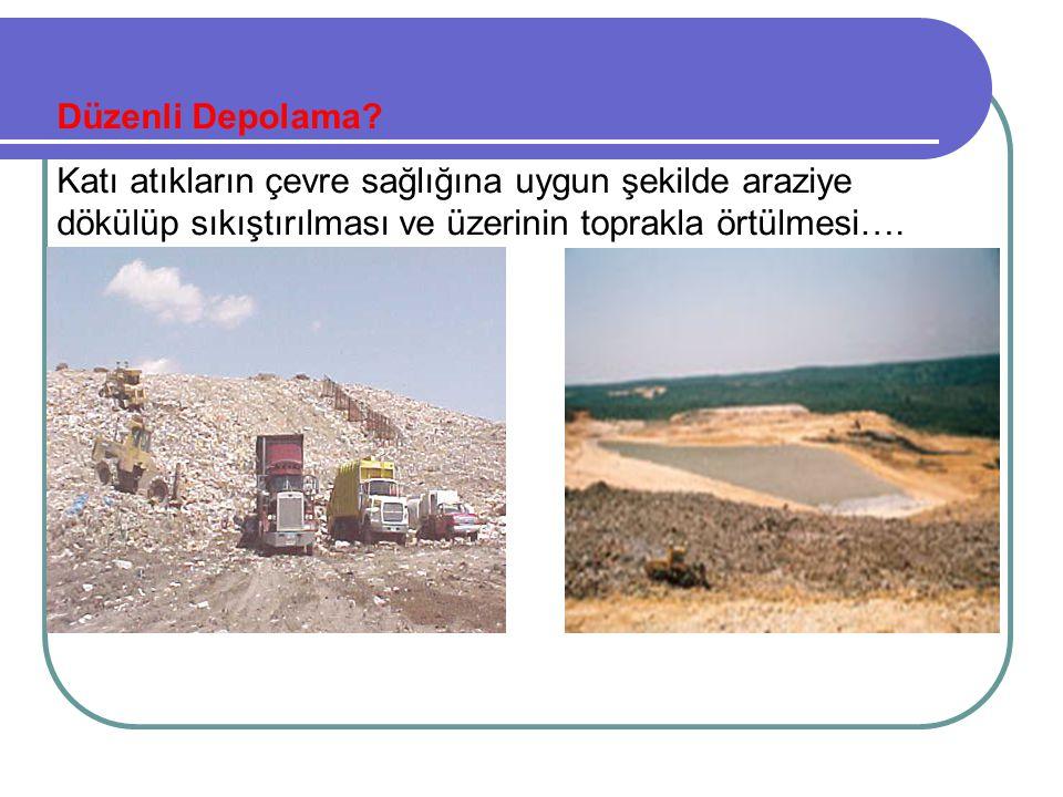 Düzenli Depolama? Katı atıkların çevre sağlığına uygun şekilde araziye dökülüp sıkıştırılması ve üzerinin toprakla örtülmesi….
