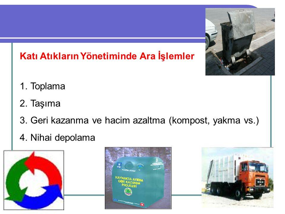 Katı Atıkların Yönetiminde Ara İşlemler 1.Toplama 2.Taşıma 3.Geri kazanma ve hacim azaltma (kompost, yakma vs.) 4.Nihai depolama