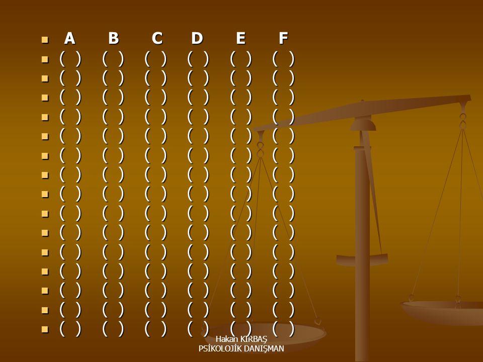 Hakan KIRBAŞ PSİKOLOJİK DANIŞMAN A B C D E F A B C D E F ( ) ( ) ( ) ( ) ( ) ( ) ( ) ( ) ( ) ( ) ( ) ( )