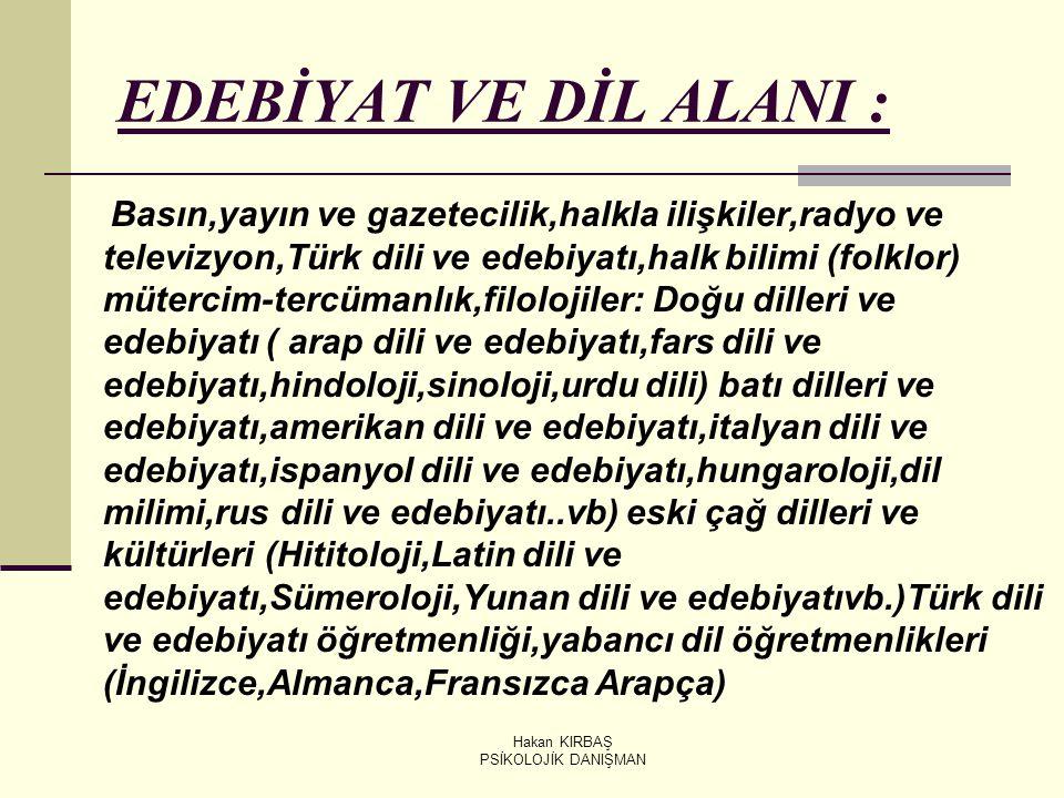Hakan KIRBAŞ PSİKOLOJİK DANIŞMAN EDEBİYAT VE DİL ALANI : Basın,yayın ve gazetecilik,halkla ilişkiler,radyo ve televizyon,Türk dili ve edebiyatı,halk b