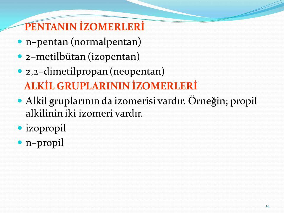 PENTANIN İZOMERLERİ n–pentan (normalpentan) 2–metilbütan (izopentan) 2,2–dimetilpropan (neopentan) ALKİL GRUPLARININ İZOMERLERİ Alkil gruplarının da i