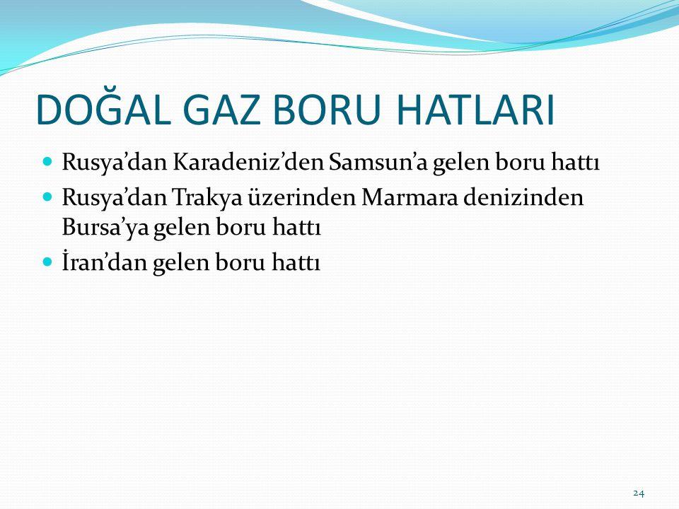 DOĞAL GAZ BORU HATLARI Rusya'dan Karadeniz'den Samsun'a gelen boru hattı Rusya'dan Trakya üzerinden Marmara denizinden Bursa'ya gelen boru hattı İran'