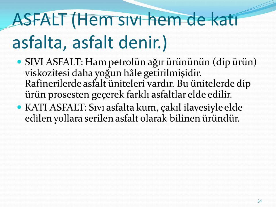 ASFALT (Hem sıvı hem de katı asfalta, asfalt denir.) SIVI ASFALT: Ham petrolün ağır ürününün (dip ürün) viskozitesi daha yoğun hâle getirilmişidir. Ra