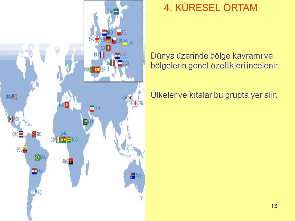 13 4. KÜRESEL ORTAM Dünya üzerinde bölge kavramı ve bölgelerin genel özellikleri incelenir. Ülkeler ve kıtalar bu grupta yer alır.