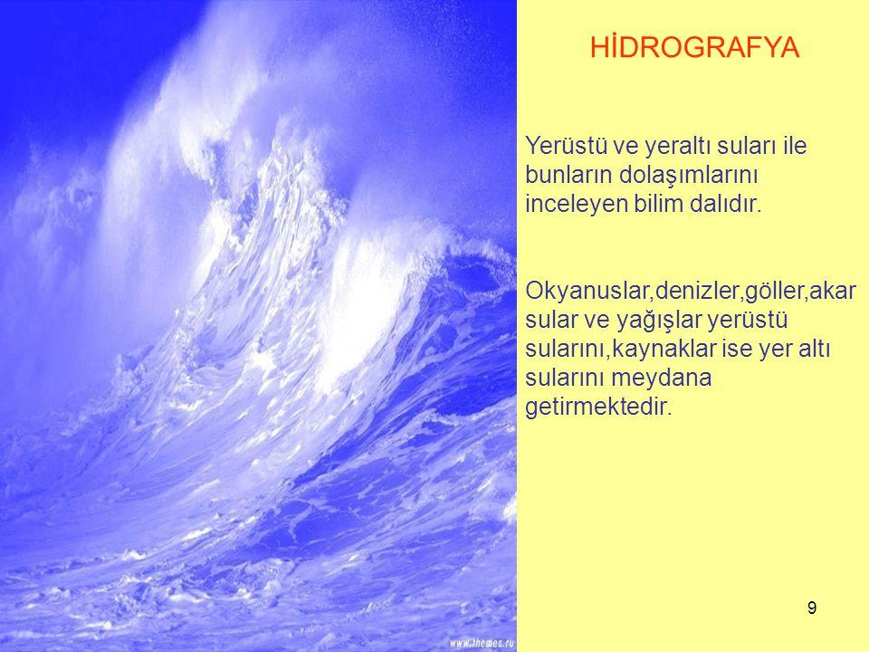 9 HİDROGRAFYA Yerüstü ve yeraltı suları ile bunların dolaşımlarını inceleyen bilim dalıdır. Okyanuslar,denizler,göller,akar sular ve yağışlar yerüstü