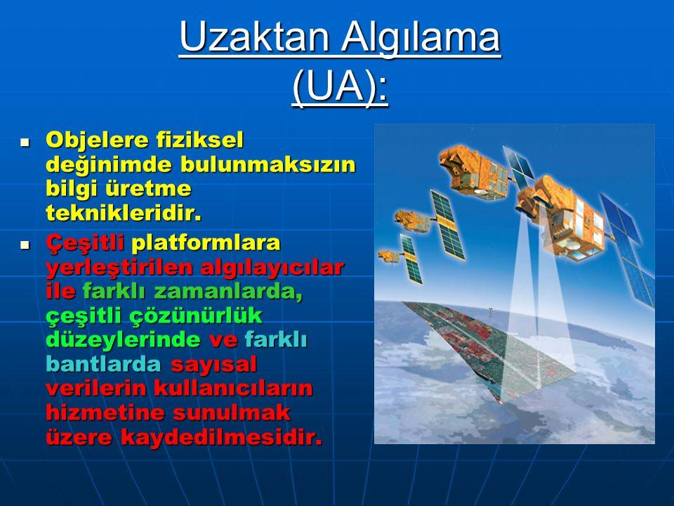Uzaktan Algılama (UA): Objelere fiziksel değinimde bulunmaksızın bilgi üretme teknikleridir. Objelere fiziksel değinimde bulunmaksızın bilgi üretme te