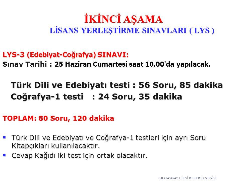 LYS-3 (Edebiyat-Coğrafya) SINAVI: Sınav Tarihi : 25 Haziran Cumartesi saat 10.00 da yapılacak.