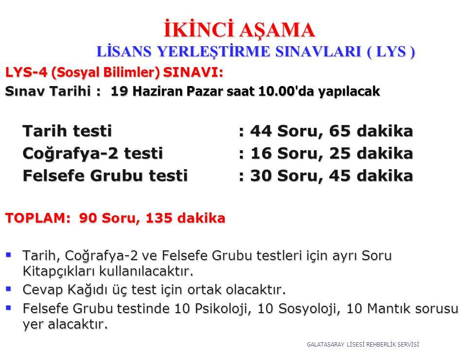 LYS-4 (Sosyal Bilimler) SINAVI: Sınav Tarihi : 19 Haziran Pazar saat 10.00 da yapılacak Tarih testi : 44 Soru, 65 dakika Coğrafya-2 testi: 16 Soru, 25 dakika Felsefe Grubu testi : 30 Soru, 45 dakika TOPLAM: 90 Soru, 135 dakika  Tarih, Coğrafya-2 ve Felsefe Grubu testleri için ayrı Soru Kitapçıkları kullanılacaktır.