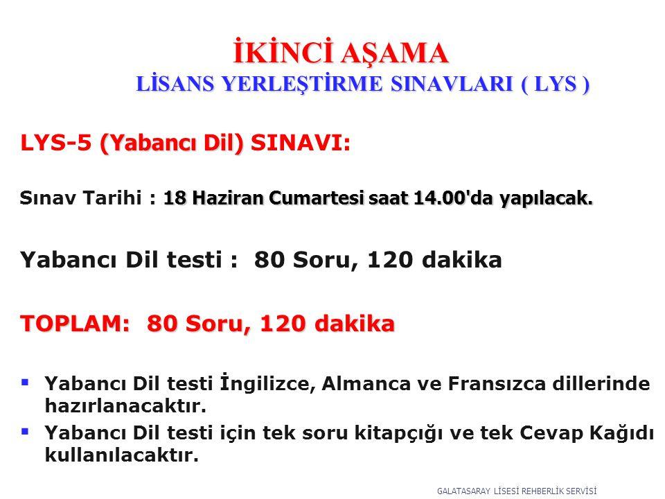 (Yabancı Dil) LYS-5 (Yabancı Dil) SINAVI: 18 Haziran Cumartesi saat 14.00 da yapılacak.