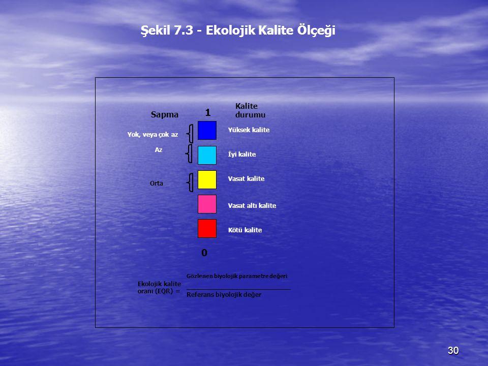 30 Ekolojik kalite oranı (EQR) = İyi kalite Vasat kalite Kötü kalite Vasat altı kalite Yüksek kalite Az Orta 1 Sapma Kalite durumu Yok, veya çok az 0