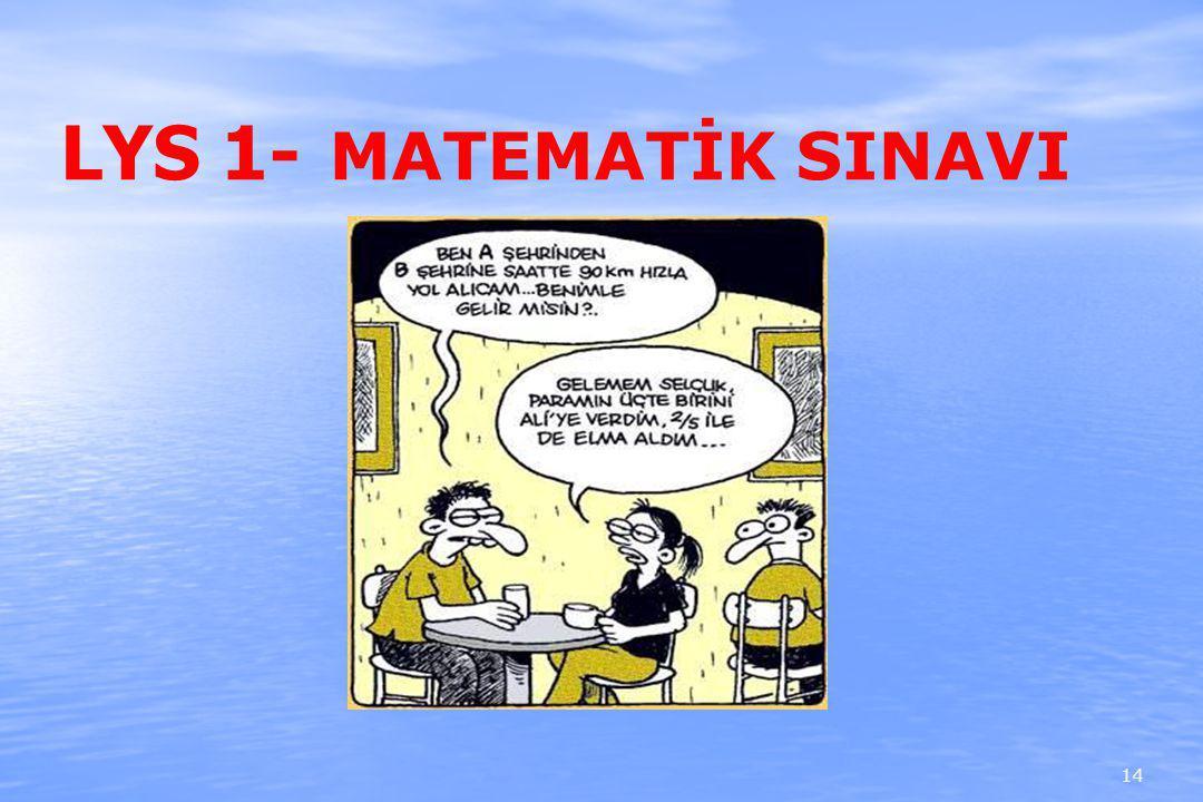 LYS 1- MATEMATİK SINAVI 14