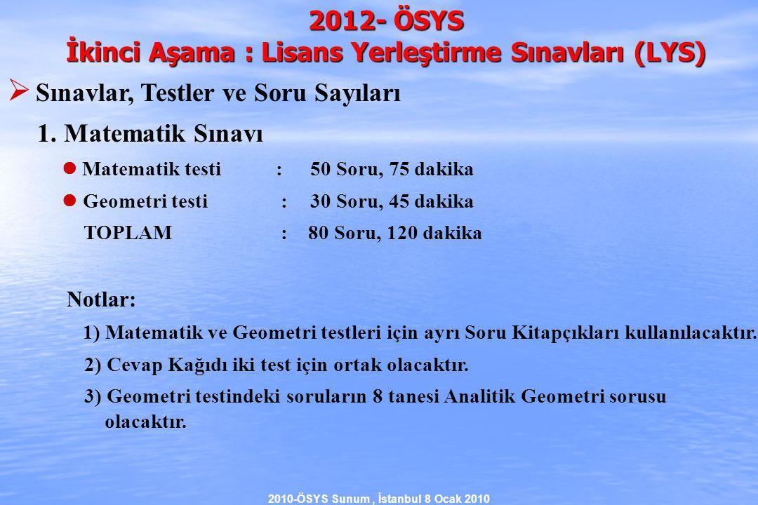 2010-ÖSYS Sunum, İstanbul 8 Ocak 2010 2012- ÖSYS İkinci Aşama : Lisans Yerleştirme Sınavları (LYS)  Sınavlar, Testler ve Soru Sayıları 1.