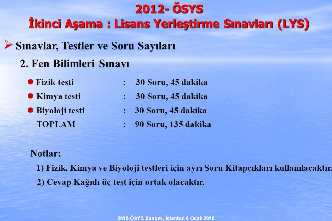 2010-ÖSYS Sunum, İstanbul 8 Ocak 2010 2012- ÖSYS İkinci Aşama : Lisans Yerleştirme Sınavları (LYS )  Sınavlar, Testler ve Soru Sayıları 2.