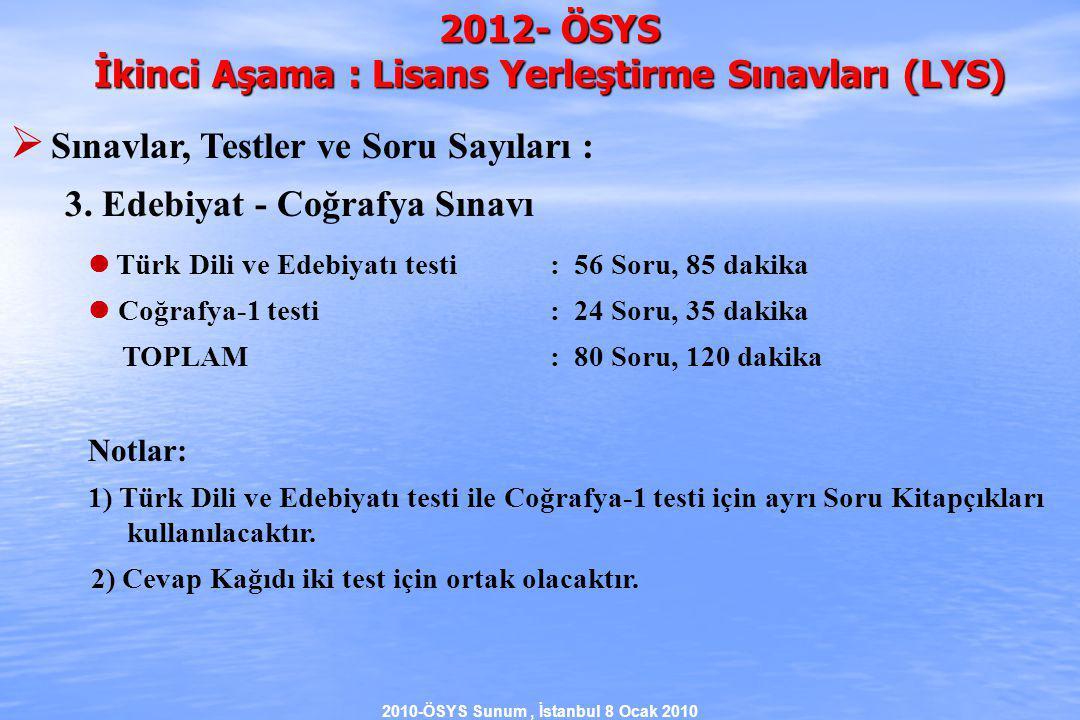 2010-ÖSYS Sunum, İstanbul 8 Ocak 2010 2012- ÖSYS İkinci Aşama : Lisans Yerleştirme Sınavları (LYS)  Sınavlar, Testler ve Soru Sayıları : 3.