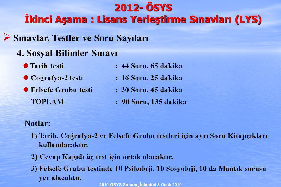 2010-ÖSYS Sunum, İstanbul 8 Ocak 2010 2012- ÖSYS İkinci Aşama : Lisans Yerleştirme Sınavları (LYS)  Sınavlar, Testler ve Soru Sayıları 4.