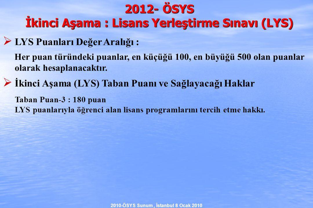 2010-ÖSYS Sunum, İstanbul 8 Ocak 2010 2012- ÖSYS İkinci Aşama : Lisans Yerleştirme Sınavı (LYS)  LYS Puanları Değer Aralığı : Her puan türündeki puanlar, en küçüğü 100, en büyüğü 500 olan puanlar olarak hesaplanacaktır.