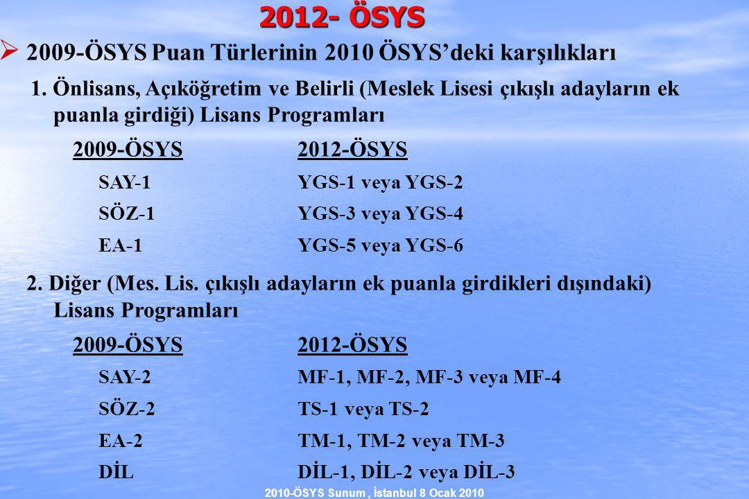 2010-ÖSYS Sunum, İstanbul 8 Ocak 2010 2012- ÖSYS  2009-ÖSYS Puan Türlerinin 2010 ÖSYS'deki karşılıkları 1.