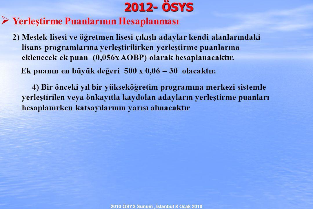 2010-ÖSYS Sunum, İstanbul 8 Ocak 2010 2012- ÖSYS  Yerleştirme Puanlarının Hesaplanması 2) Meslek lisesi ve öğretmen lisesi çıkışlı adaylar kendi alanlarındaki lisans programlarına yerleştirilirken yerleştirme puanlarına eklenecek ek puan (0,056x AOBP) olarak hesaplanacaktır.