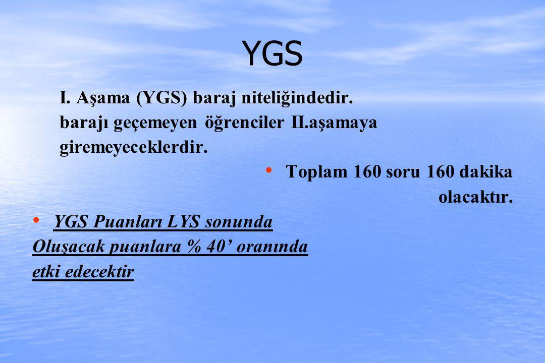 YGS I. Aşama (YGS) baraj niteliğindedir. barajı geçemeyen öğrenciler II.aşamaya giremeyeceklerdir.