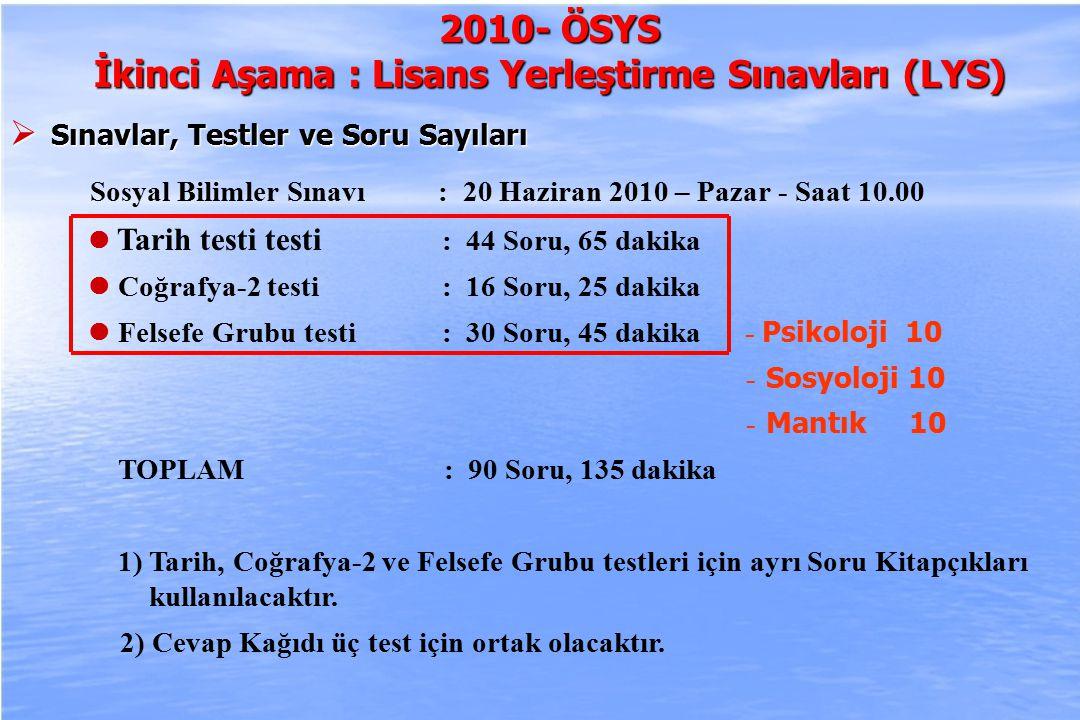 2010-ÖSYS Sunum, İstanbul 29 Ağustos 2009 2010- ÖSYS İkinci Aşama : Lisans Yerleştirme Sınavları (LYS)  Sınavlar, Testler ve Soru Sayıları Sosyal Bilimler Sınavı : 20 Haziran 2010 – Pazar - Saat 10.00 Tarih testi testi : 44 Soru, 65 dakika Coğrafya-2 testi: 16 Soru, 25 dakika Felsefe Grubu testi: 30 Soru, 45 dakika - Psikoloji 10 - Sosyoloji 10 - Mantık 10 TOPLAM : 90 Soru, 135 dakika 1) Tarih, Coğrafya-2 ve Felsefe Grubu testleri için ayrı Soru Kitapçıkları kullanılacaktır.