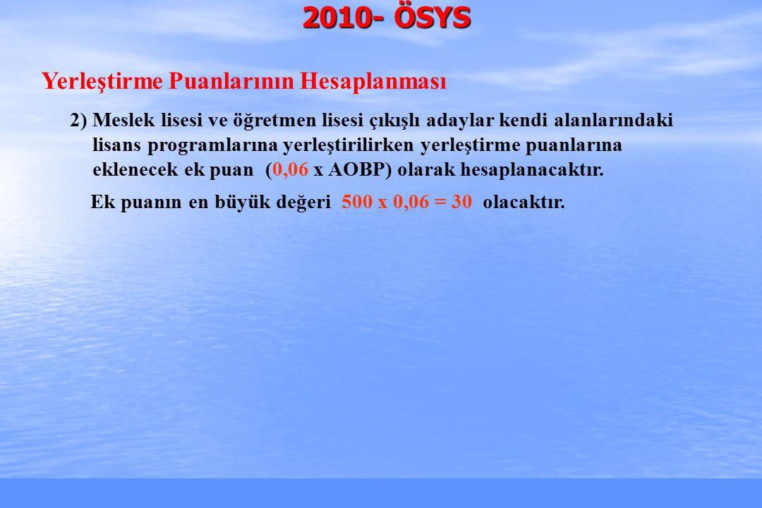 2010-ÖSYS Sunum, İstanbul 26 Mart 2010 2009 ÖSYS Puanlarının 2010 Karşılıkları  Bir fikir edinmek için, lisans programlarının 2009'daki en küçük yerleştirme (Y- ÖSS) puanlarının 2010'daki karşılıklarının yaklaşık değerleri, aşağıdaki formül kullanılarak bulunabilir.