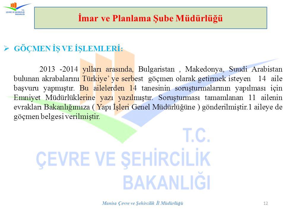  GÖÇMEN İŞ VE İŞLEMLERİ: 2013 -2014 yılları arasında, Bulgaristan, Makedonya, Suudi Arabistan bulunan akrabalarını Türkiye' ye serbest göçmen olarak
