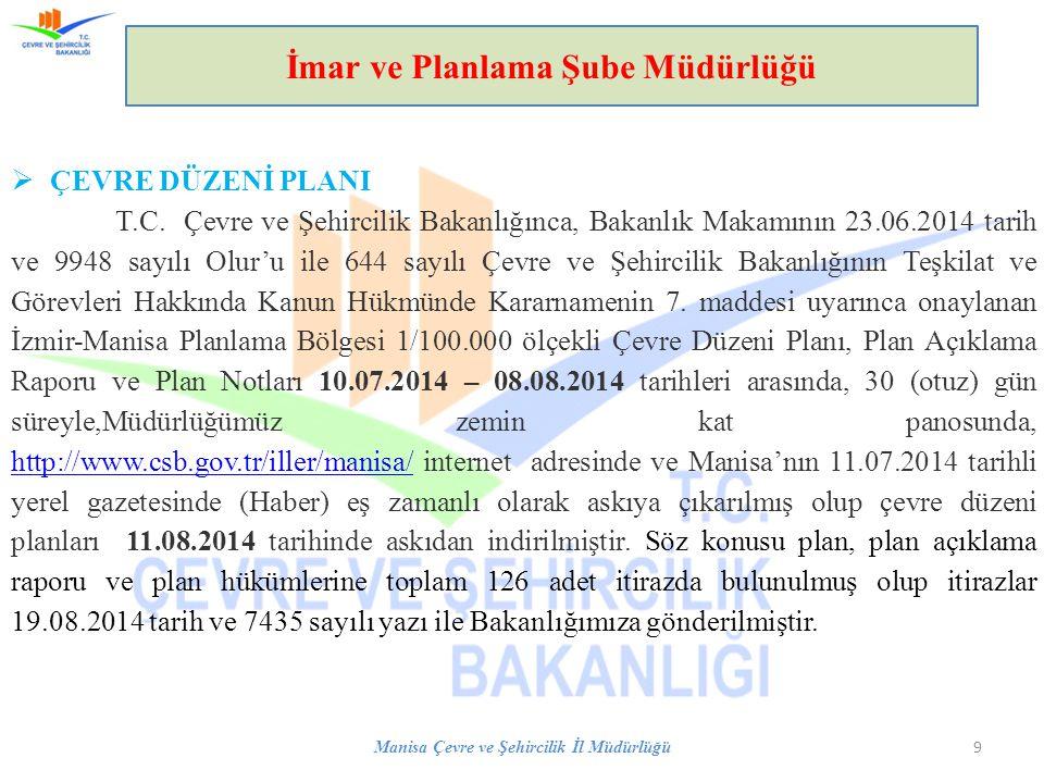 Manisa Çevre ve Şehircilik İl Müdürlüğü 9 İmar ve Planlama Şube Müdürlüğü  ÇEVRE DÜZENİ PLANI T.C.