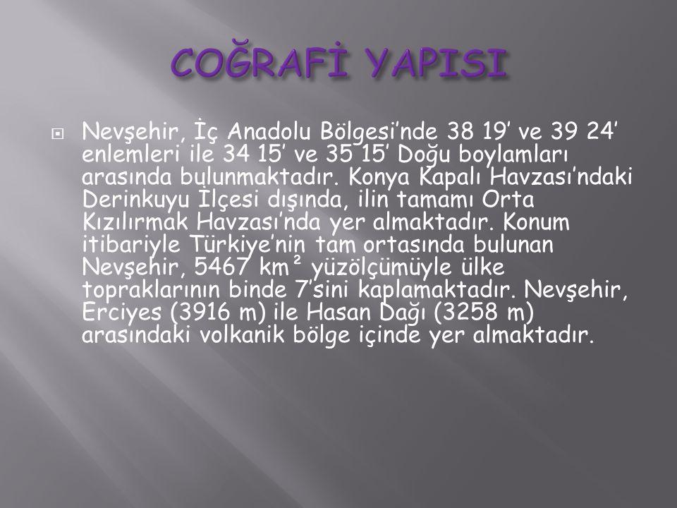  Nevşehir, İç Anadolu Bölgesi'nde 38 19′ ve 39 24′ enlemleri ile 34 15′ ve 35 15′ Doğu boylamları arasında bulunmaktadır. Konya Kapalı Havzası'ndaki