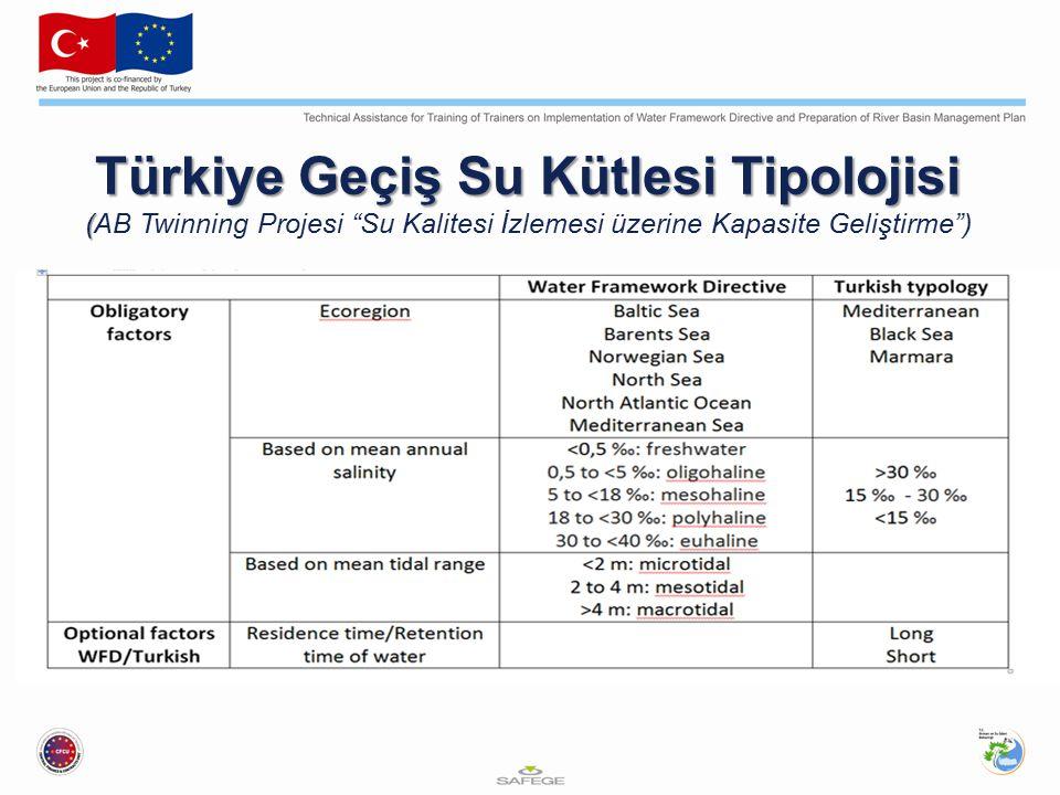 Türkiye Geçiş Su Kütlesi Tipolojisi ( Türkiye Geçiş Su Kütlesi Tipolojisi (AB Twinning Projesi Su Kalitesi İzlemesi üzerine Kapasite Geliştirme )