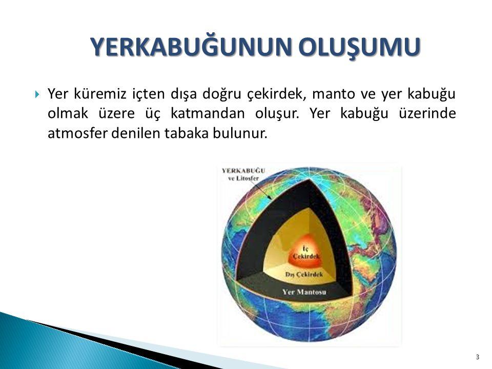  Yer küremiz içten dışa doğru çekirdek, manto ve yer kabuğu olmak üzere üç katmandan oluşur.