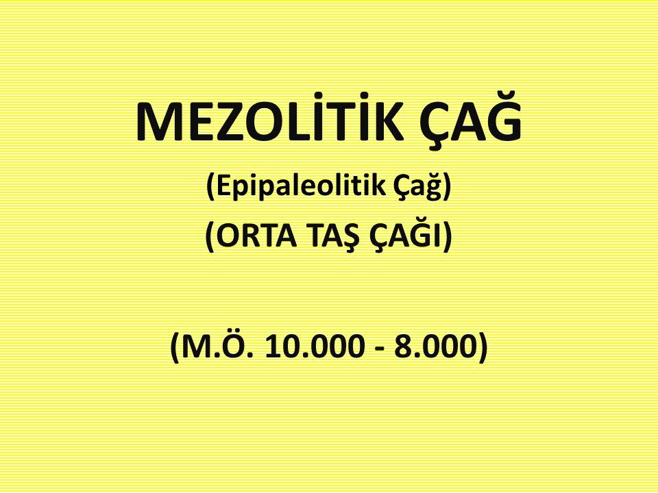 MEZOLİTİK ÇAĞ (Epipaleolitik Çağ) (ORTA TAŞ ÇAĞI) (M.Ö. 10.000 - 8.000)