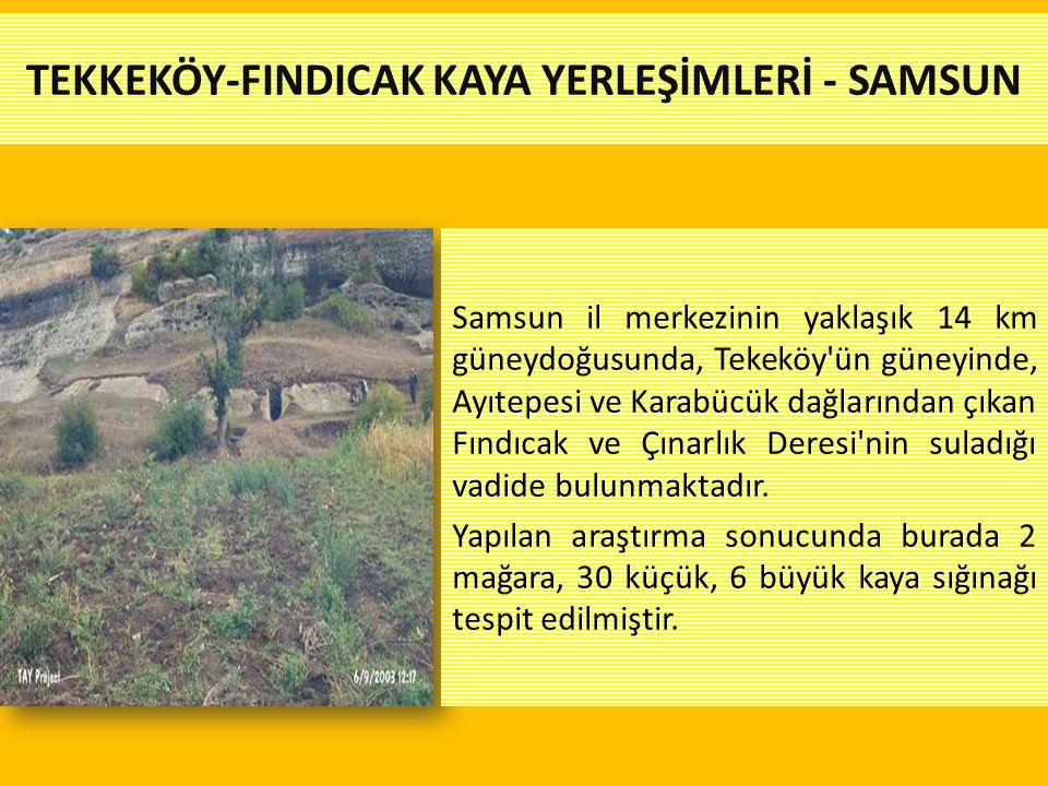TEKKEKÖY-FINDICAK KAYA YERLEŞİMLERİ - SAMSUN Samsun il merkezinin yaklaşık 14 km güneydoğusunda, Tekeköy'ün güneyinde, Ayıtepesi ve Karabücük dağların