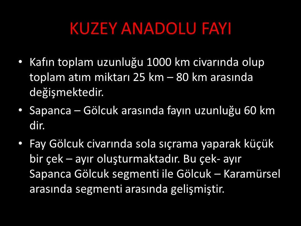 KUZEY ANADOLU FAYI Kafın toplam uzunluğu 1000 km civarında olup toplam atım miktarı 25 km – 80 km arasında değişmektedir.