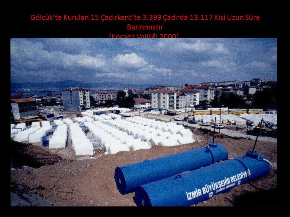Gölcük'te Kurulan 15 Çadırkent'te 3.399 Çadırda 13.117 Kisi Uzun Süre Barınmıstır (Kocaeli Valiliği 2000).