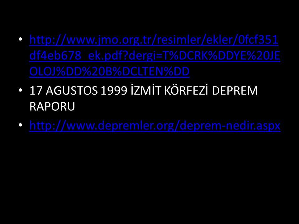 http://www.jmo.org.tr/resimler/ekler/0fcf351 df4eb678_ek.pdf?dergi=T%DCRK%DDYE%20JE OLOJ%DD%20B%DCLTEN%DD http://www.jmo.org.tr/resimler/ekler/0fcf351 df4eb678_ek.pdf?dergi=T%DCRK%DDYE%20JE OLOJ%DD%20B%DCLTEN%DD 17 AGUSTOS 1999 İZMİT KÖRFEZİ DEPREM RAPORU http://www.depremler.org/deprem-nedir.aspx