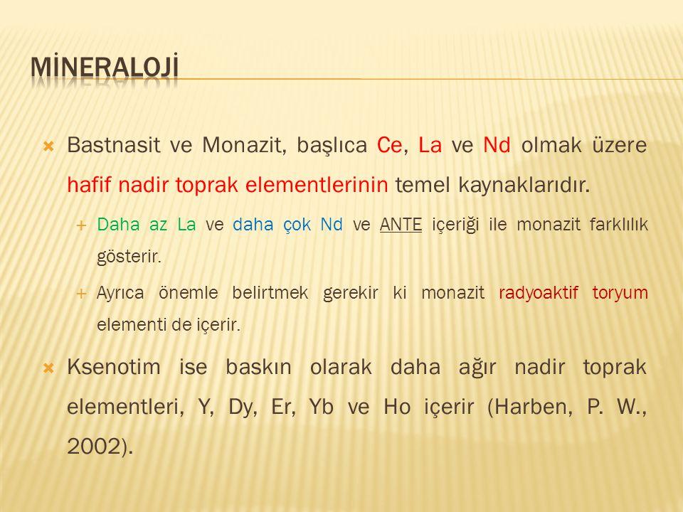  Bastnasit ve Monazit, başlıca Ce, La ve Nd olmak üzere hafif nadir toprak elementlerinin temel kaynaklarıdır.  Daha az La ve daha çok Nd ve ANTE iç