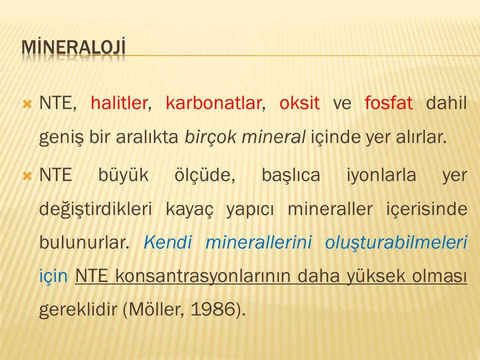  NTE, halitler, karbonatlar, oksit ve fosfat dahil geniş bir aralıkta birçok mineral içinde yer alırlar.  NTE büyük ölçüde, başlıca iyonlarla yer de