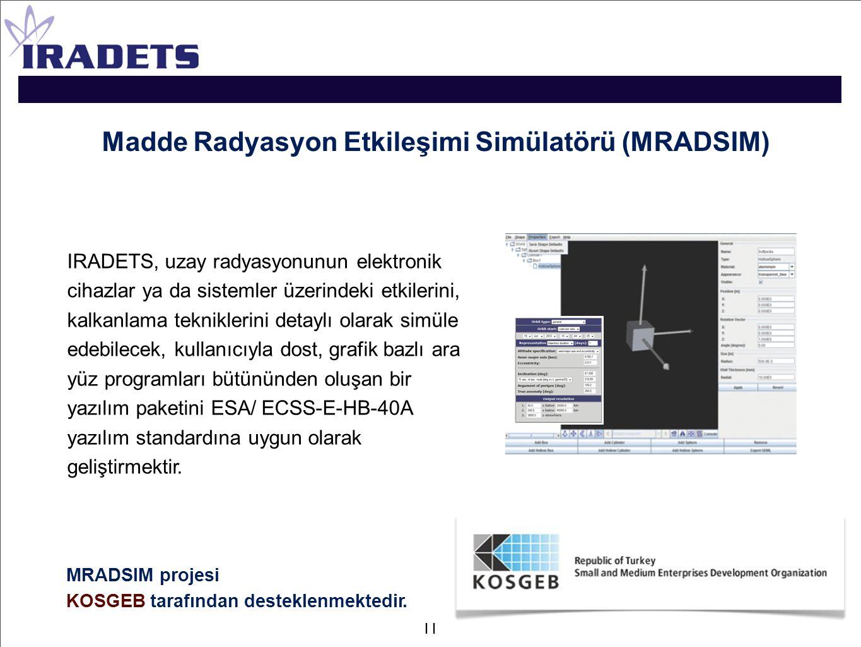 Madde Radyasyon Etkileşimi Simülatörü (MRADSIM) IRADETS, uzay radyasyonunun elektronik cihazlar ya da sistemler üzerindeki etkilerini, kalkanlama tekn