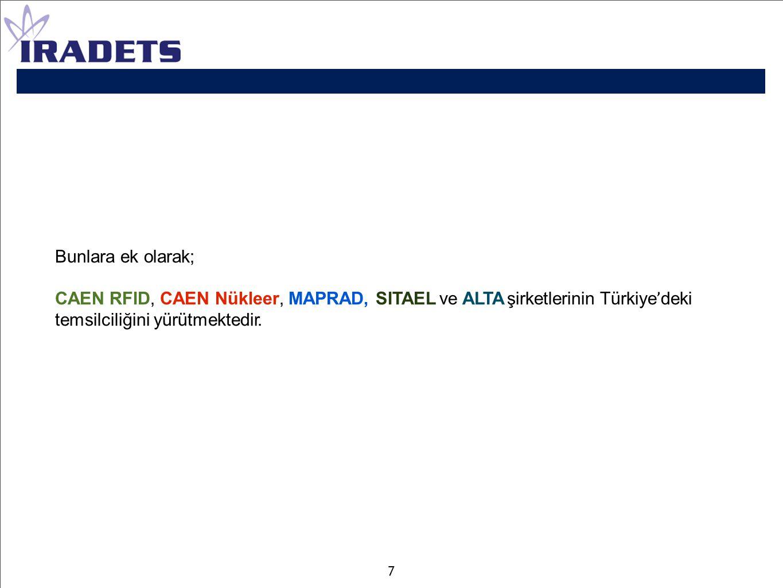 Bunlara ek olarak; CAEN RFID, CAEN Nükleer, MAPRAD, SITAEL ve ALTA şirketlerinin Türkiye ' deki temsilciliğini yürütmektedir. 7