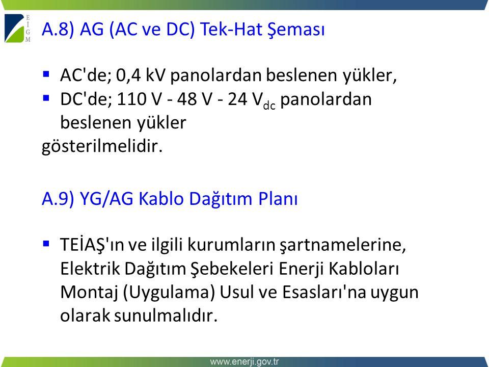  AC'de; 0,4 kV panolardan beslenen yükler,  DC'de; 110 V - 48 V - 24 V dc panolardan beslenen yükler gösterilmelidir. A.8) AG (AC ve DC) Tek-Hat Şem