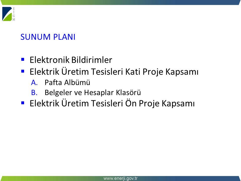 SUNUM PLANI  Elektronik Bildirimler  Elektrik Üretim Tesisleri Kati Proje Kapsamı A.Pafta Albümü B.Belgeler ve Hesaplar Klasörü  Elektrik Üretim Te