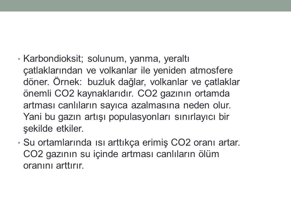 Karbondioksit; solunum, yanma, yeraltı çatlaklarından ve volkanlar ile yeniden atmosfere döner. Örnek: buzluk dağlar, volkanlar ve çatlaklar önemli CO